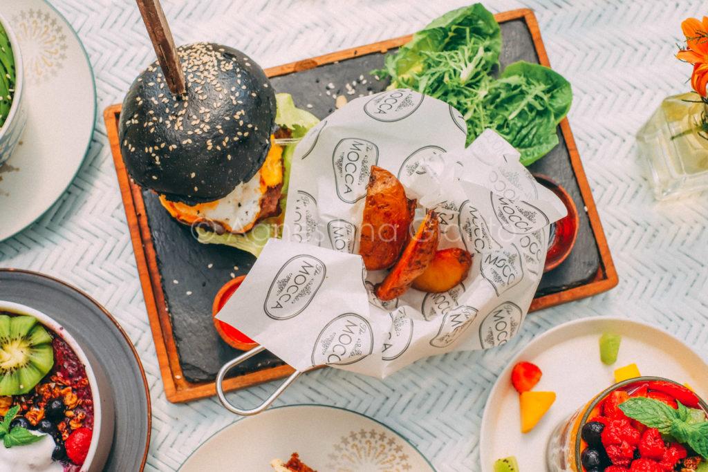 Charcoal bun beef burger in Bali