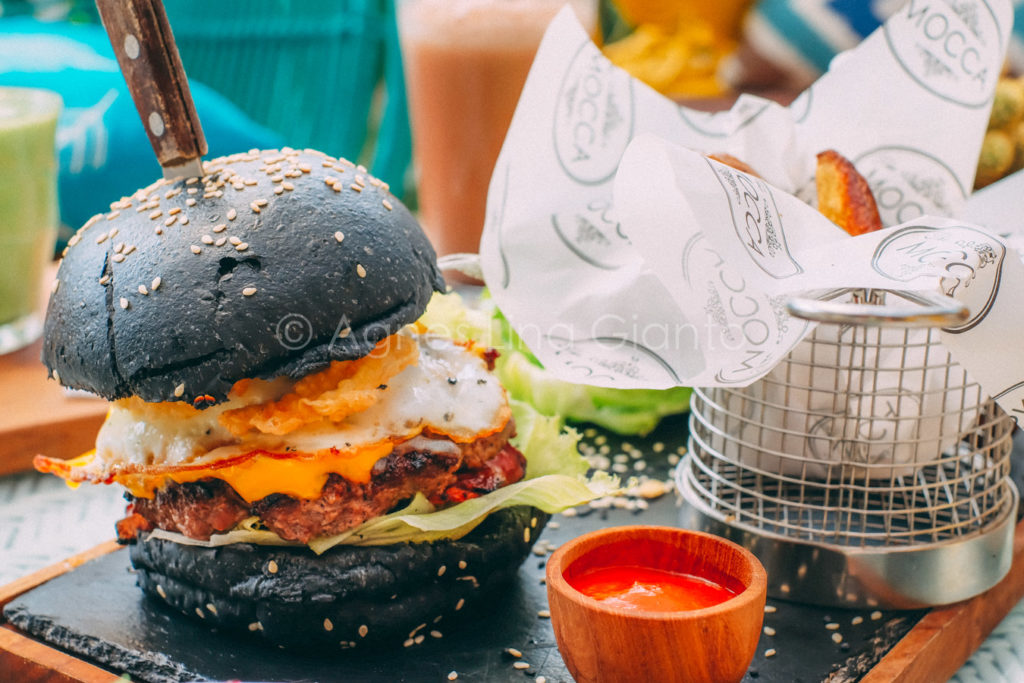 The Mocca Burger with charcoal bun