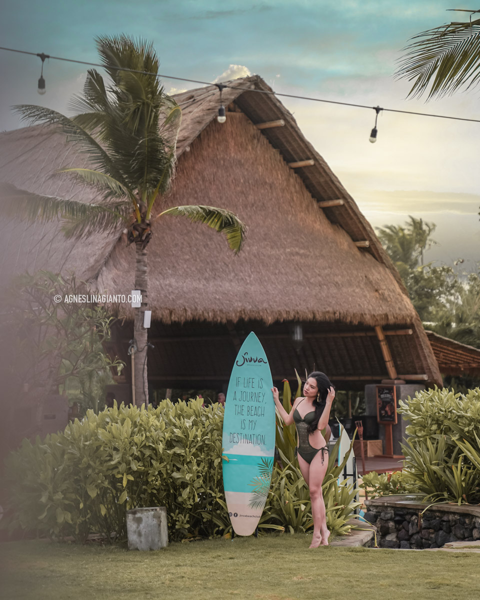 A girl at a beach club in Bali